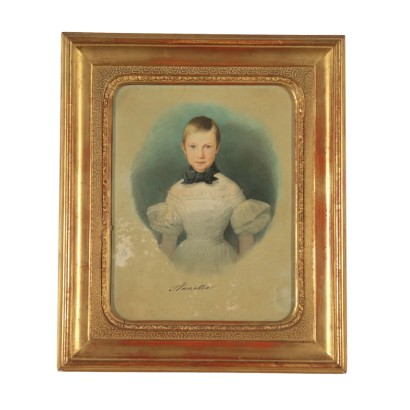 Portrait of a Girl Watercolor on Paper 19th Century
