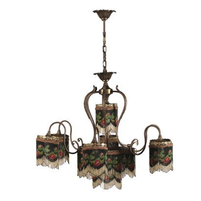 Liberty Chandelier Brass Glass Italy 20th Century