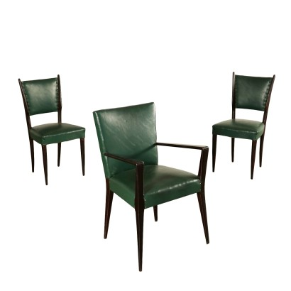 Set of Chairs Leatherette Vintage Italy 1950s