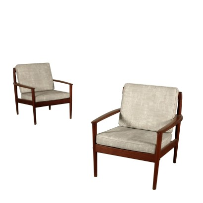 Pair of Armchairs by Grete Jalk Vintage Denmark 1950s-1960s