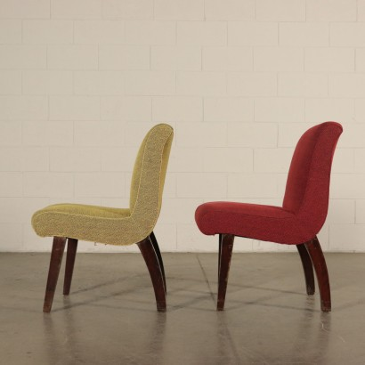Set of Three Chairs Horsehair Padding Fabric Upholstery 1950s-1960s