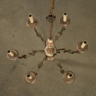 Antique Chandelier Iron Gilded Wood Late 1700s-Early 1800s