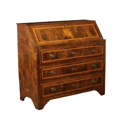 Drop-leaf Secretaire Manufactured in Rome Italy 18th Century