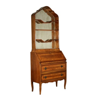Revival Bureau Bookcase Maple Walnut Olive Italy 20th Century
