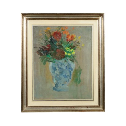 Contemporary Painting by Ernesto Treccani Vase of Flowers