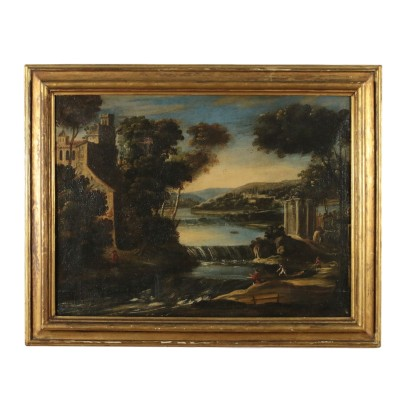 Fluvial Landscape Painting with Architectures and Figures 18th Century