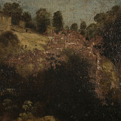 Landscape Painting with River and Figures 18th Century