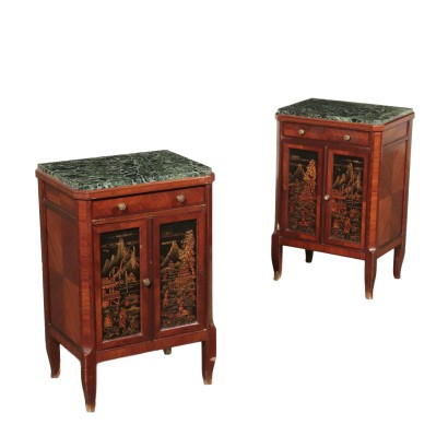 Pair of Nightstands with Decorated Tiles Italy 20th Century