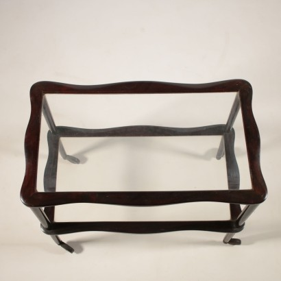 Service Cart Ebony Stained Wood Glass Vintage Italy1950s-1960s