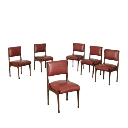 Six Chairs Rosewood Leatherette Upholstery 1960s