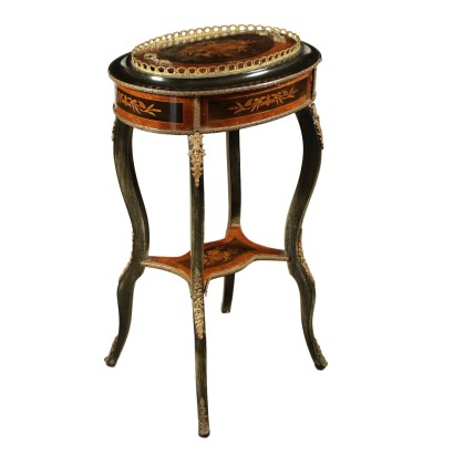 Petite Table Diverses Essences Bronze Italie Fin '800