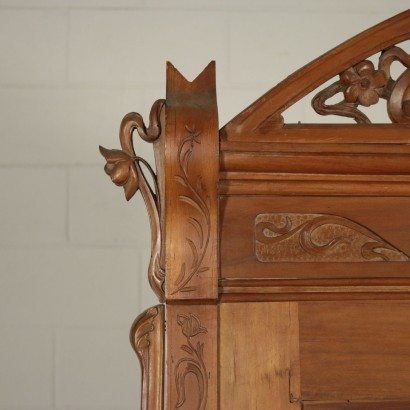 Art Nouveau Cupboard Cherry Italy Early 1900s