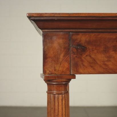 Console Walnut Veneer Italy Early 1800s