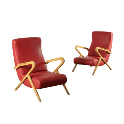 Armchairs, Beech Foam and Leatherette, Italy 1950s