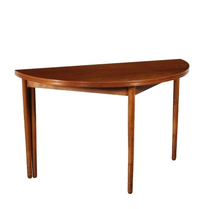 Danish Round Table Convertible Console Teak 1960s