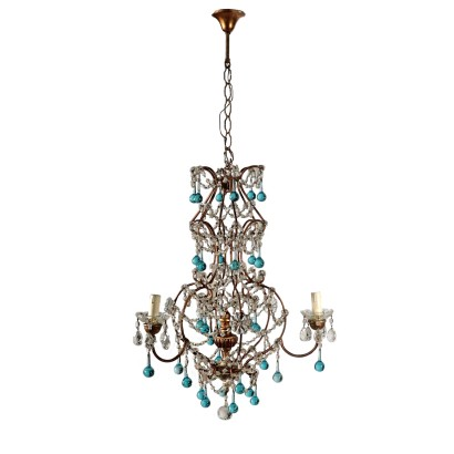 Three Arm Chandelier Italy Early 20th Century