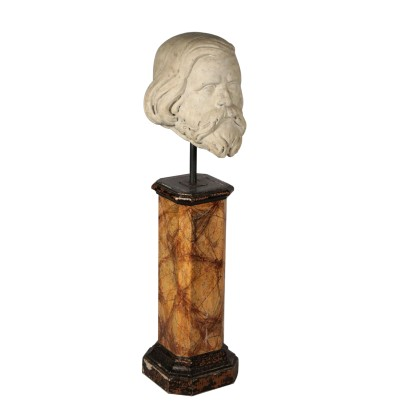Marble Bust on Wooden Column Italy First Half 20th Century