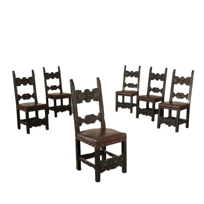 Group of Six Carved Walnut Chairs Italy 20th Century