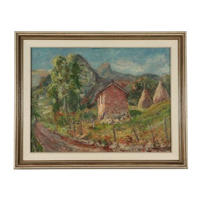 Oil on plywood Landscape by Carlo Aimetti 20th Century