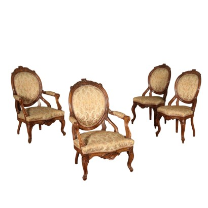 Two Chairs and Two Armchairs Walnut Italy 19th Century