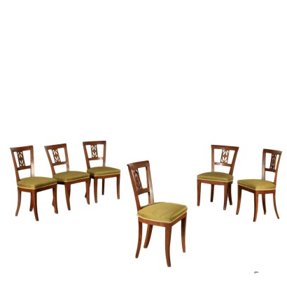 Group of Six Walnut Chairs Second Quarter 19th Century