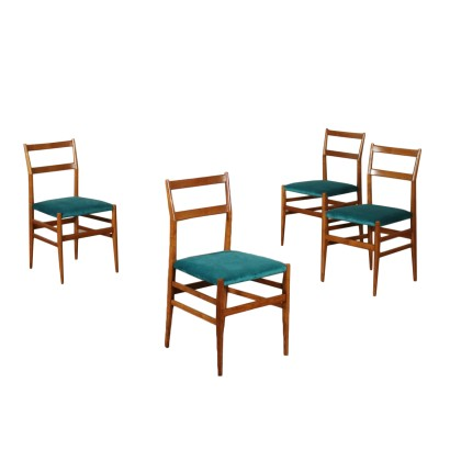 Set of Four Chairs by Gio Ponti Ash Wood Velvet Upholstery 1960s