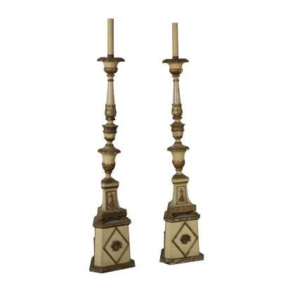 Pair of Gilded Wood Torchères Italy 18th-19th Century