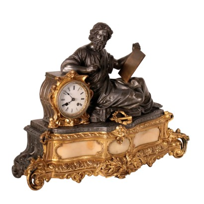 Desk Clock Antimony and Gilded Bronze France 19th Century