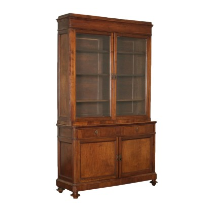 Bookcase Walnut Glass Italy Second Quarter 1800s