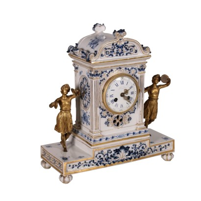 Meissen Ceramic Desk Clock Bronze 1800s-1900s