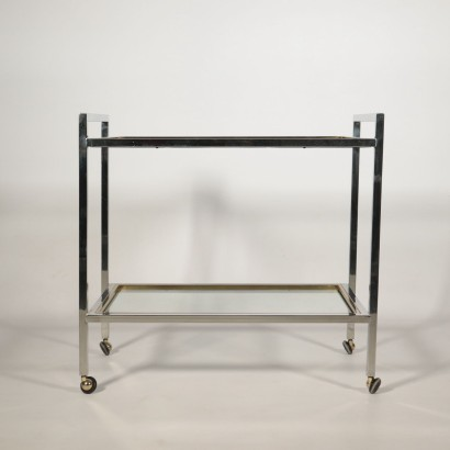 Vintage Cart Chromed Metal, Glass and Brass Italy 1970's-1980's