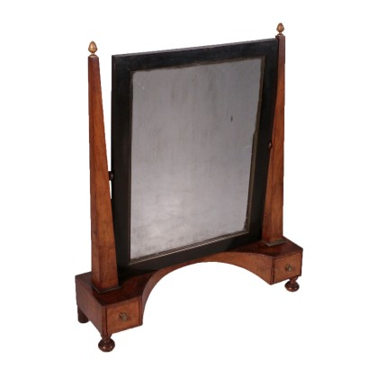 Small Walnut Cheval Mirror Empire Style Italy 19th Century