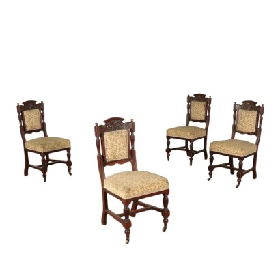 Group of Four Mahogany Chairs Italy Late 19th Century