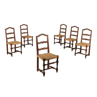Group of Six Walnut Chairs Italy 20th Century