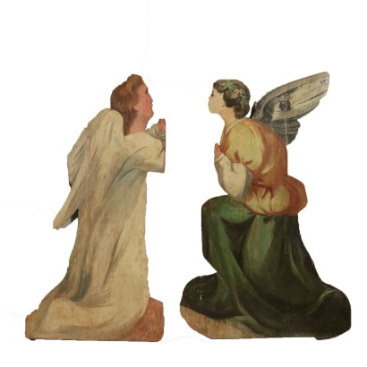 Pair of Angels in Wood 19th Century