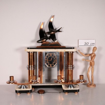 Table Clock With Art Decò Candlesticks 20th Century
