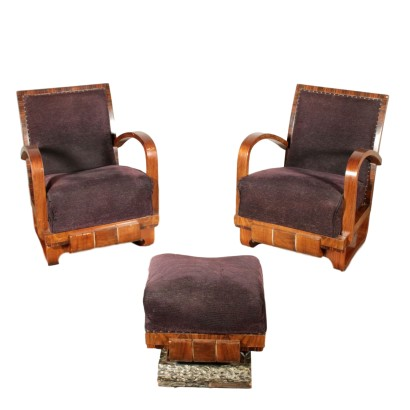 Deco Armchairs Walnut and Rosewood Veneer Italy