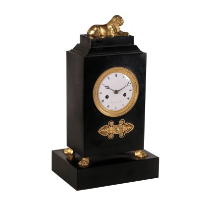 Horloge de Table Fer Patiné Bronze doré France '800
