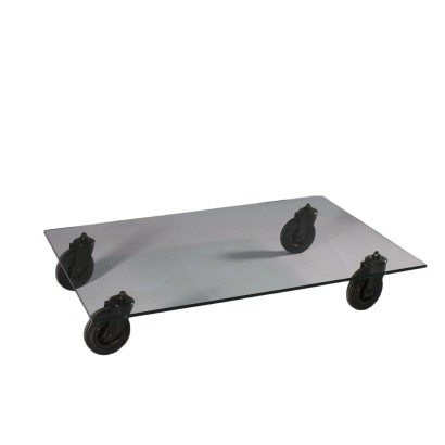 Vintage Glass Table With Wheels by Gae Aulenti 1980's