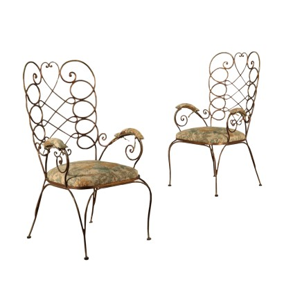 Pair or Armchairs in Gilded Iron Italy 20th Century