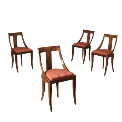 Group of Four Walnut Gondola Chairs Italy 19th Century