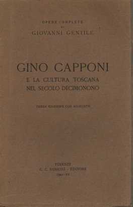 Gino Capponi and the tuscan culture in the twentieth century