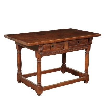 Walnut Desk With Two Drawers Spain 17th Century