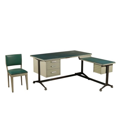 Vintage Office Desk in Lacquered Metal and Skai Italy 1960's