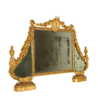 Neoclassical Overmantle Mirror in Gilded Wood Italy 18th Century