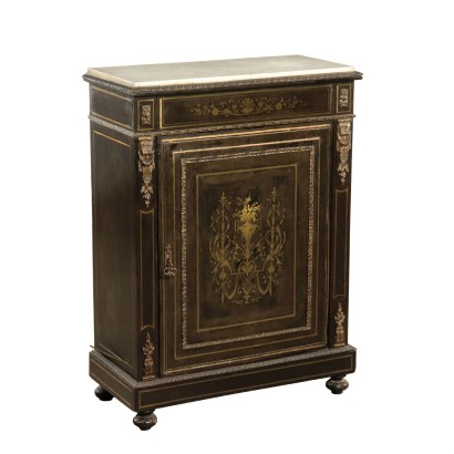 Ebony Wood Cupboard In Boulle Style France 19th Century