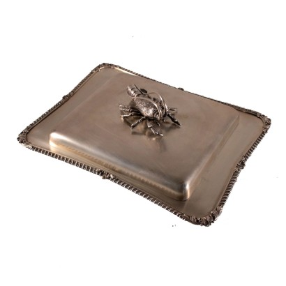 Silver and Crystal Tray Italy 20th Century