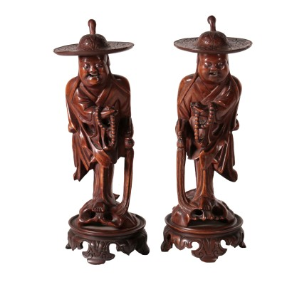 Pair of Wooden Statues China 20th Century