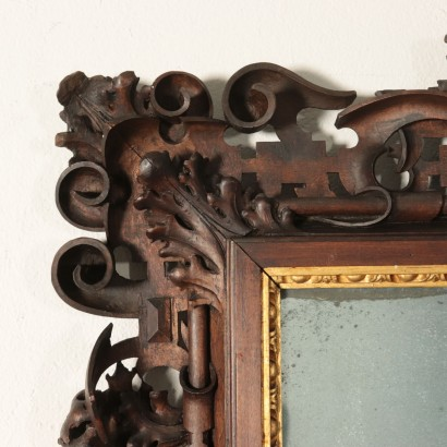 Carved Walnut and Linden Mirror Italy 19th Century
