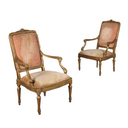 Pair of Louis XVI Armchairs in Gilded Wood Italy 18th Century